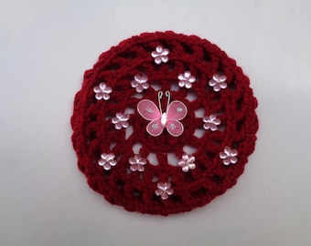 Small Bun Cover with Pink Flower Rhinestones and Butterfly, Crochet Bun Cover, Bun Wrap, Bun Holder, Ballet, Dance,