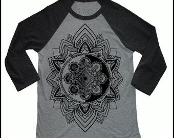 Unisex HARMONIC MANDALA 3/4 Length Sleeve Vintage Style Sacred Geometry Tattoo Style Baseball T-shirt