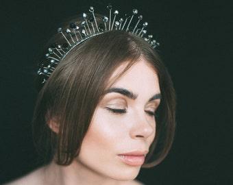 black headpiece, black tiara, silver headpiece, black hair vine, bridal tiara, crystal crown, bohemian tiara, silver jewelry, birthday crown
