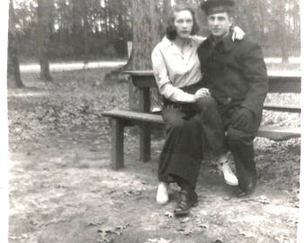 "Vintage Snapshot ""He'll Keep Me Warm"" Coatless Woman Sailor Wearing Warm Jacket Knit Gloves 1940's Found Vernacular Photo"