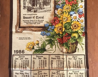 1986 tea towel calendar, Made in Germany, kitchen towel calendar, House of Tyrol