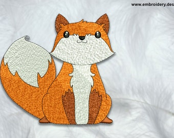 Curious fox embroidery design – 3 sizes - downloadable