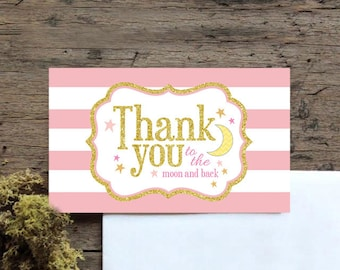 Twinkle, twinkle little star, birthday, first birthday, thank you card, twinkle twinkle little star thank you card, pink and gold, girls