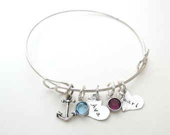 Personalized Bracelet with Birthstones and Anchor Charm  - Custom Bangle - Personalized Jewelry - Mothers - Kids Name - Grandma - Family