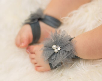 Gray Baby Barefoot Sandals, Flower Barefoot Sandals, Infant sandals, Baby sandals, Toddler barefoot
