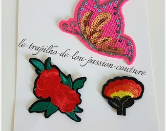 Lot 3 seconds / Patch / flower and Butterfly sequin patches