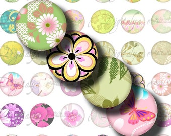 Japanese Design Green & Pink (1) Digital Collage Sheet with Romantic Asian motifs - Circles 1inch - 25mm or smaller - Buy 3 Get 1 Extra Free