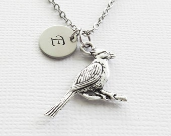 Cardinal Necklace Bird Red Cardinals Saint Louis Baseball Team Friend Birthday Gift Silver Jewelry Personalized Monogram Hand Stamped Letter