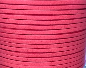 Coral Pink Faux Suede Cord - 5m