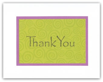 Swirls and Twirls Thank You Notes Set of TEN - Lime Green and Purple