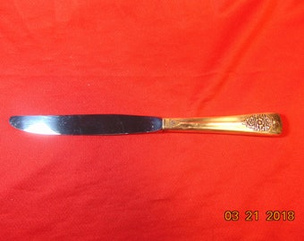 "One (1), 9"", Silver Plated, Hollow Handle, Dinner Knife, from Rogers & Bro/International Silver, in the 1949 Dawn Pattern."