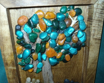 pebbles and driftwood wall hanging
