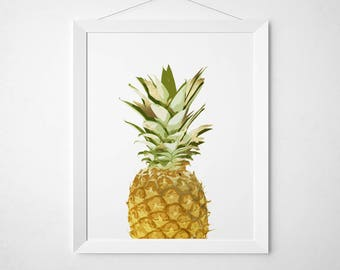 Pineapple wall decor - Pineapple Wall Art - Fruit Print - Pineapple print - Faux Gold Foil Wall Art