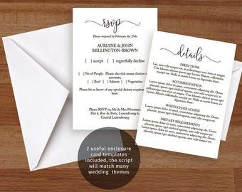 Small printable wedding enclosure cards, RSVP & detail card templates, informal modern font