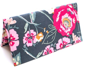 Checkbook Cover Personalized Check Holder Coupon Holder Stocking Stuffer Monogram | Gray and Pink Floral