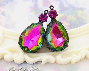 Rainbow Vitrail Pear & Fuchsia Pink Swarovski Rhinestones Set Stone Drops 26x13mm in Raw Brass, Matte Black, Antique Silver Settings – 2