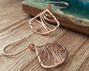Rose Gold Filled Fan Earrings. Wire Wrapped. Pink Gold. E408RG  wire jewelry by cristysjewlery on etsy