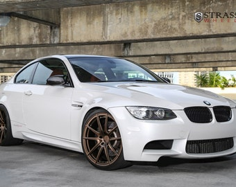 BMW E92 M3 Right Front 2 White On Strasse Wheels HD Poster Print