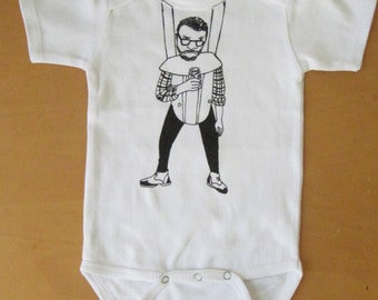 Angry hipster in baby carrier
