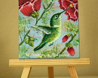 "Hummingbird Ornament - Original Acrylic Painting - mini canvas painting, 3x3"", Spring, summer, Hollyhock, Green, red, blue, yellow"