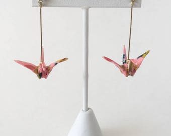 Pink origami crane earrings, pink wife gift, wife christmas jewelry, wife gift earrings, japanese jewelry, origami jewelry, origami crane