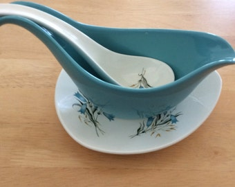 Midwinter 'Blue Harebells' gravyboat, with saucer and (rare) ladle!