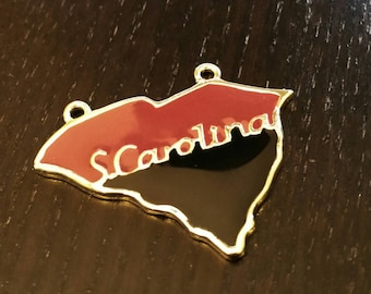 South Carolina Enamel Pendant in Crimson and Black