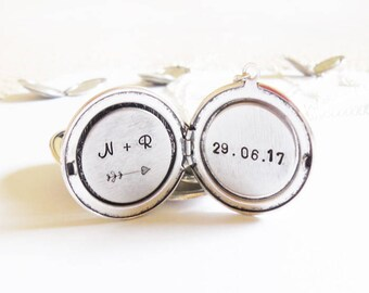 Personalized wedding jewelry,Initial locket, Initial/Date Personalized locket initial necklace Anniversary Date Locket Disc christmas gifts