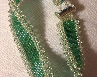 "Handbeaded Bracelet with ""lace"" edge"