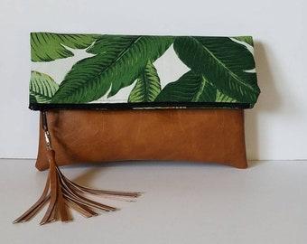 Palm Leaf Print Foldover Clutch/Palm leaf Oversize Clutch Bag/Vegan Leather Foldover Purse/Faux Leather Fold Over Bag/Gift for Her