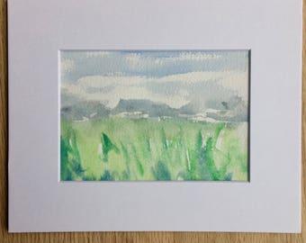 Original gouache landscape painting plein air Indiana wetlands - includes mat