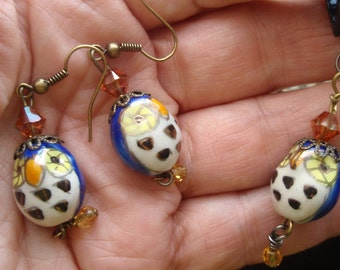 Blue Owl Earrings and Necklace
