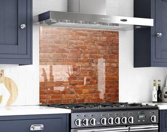 Bricks, Solid Glass Backsplash, Kitchen Decor, Behind The Range, Kitchen  Decor, Marble Panel, Painted Backsplash,