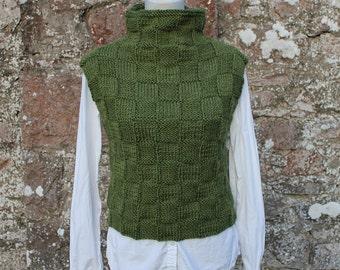 KNITTING PATTERN - Green sweater vest/slipover, sweater pattern - listing 73