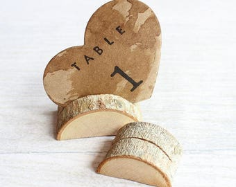 Wood Place Card table number holder 0.5 to 1 inch tall.