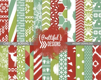 Christmas Digital Paper Scrapbook Background Commercial Use - Christmas Morning 3