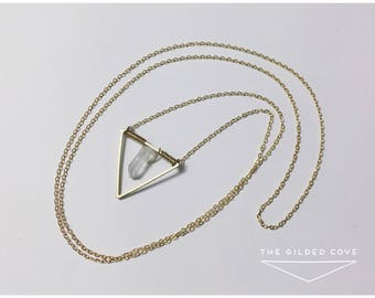 Hathor Necklace — crystal quartz wire wrapped minimalist layering geometric gold brass modern nashville triangle