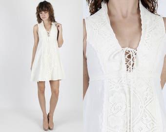 Gunne Sax Dress Crochet Dress Boho Wedding Dress Bohemian Dress 70s Dress Vintage Dress Ivory Floral Lace Hippie Corset Festival Mini Dress