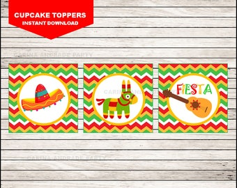 Mexican fiesta cupcakes toppers instant download, Cinco de mayo Toppers