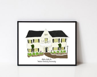 Hand drawn Western Kentucky University Sorority House Prints // 8x10