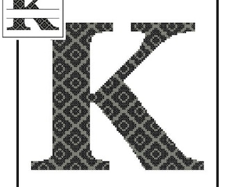 Monogram K Cross Stitch Pattern K Initial K Letter cross stitch Wedding Gift House Warming split letter cross Wedding Record Anniversary