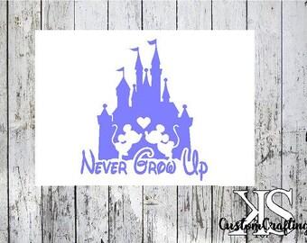 Disney decal, never grow up, cup decal, disney car decal, disney cup decal, cute decal, never grow up decal, disney decals, disney castle