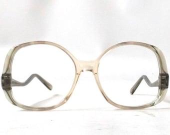 vintage. 70s. glasses. drop frame. eye glasses. drop arm oversized glasses round glasses clear olive green peach retro eyeglasses eyeglasses