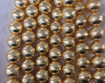 12mm round brushed, gold plated copper beads, 17 beads