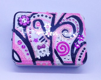 Pink and Black Glitter Girl Tin Stash Jewelry Box handmade hand made OHIO USA tattoo ceramic pottery
