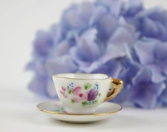 Vintage Miniature Teacup and Saucer - Diorama Dollhouse Decor - Porcelain April Teacup