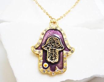 Hamsa Necklace, Hamsa Necklace Gold, Large Hamsa Necklace, Long Necklace, Evil Eye Necklace, Statement Necklace, Long simple necklace