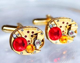 HAMILTON Men Steampunk Cufflinks - Luxury PINSTRIPE Gold Matching Watch Movement Red Swarovski Crystal Steampunk Cufflinks Gift Wedding Gift