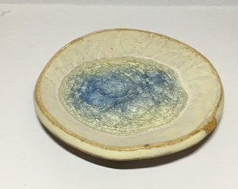 Ring dish with blue glass