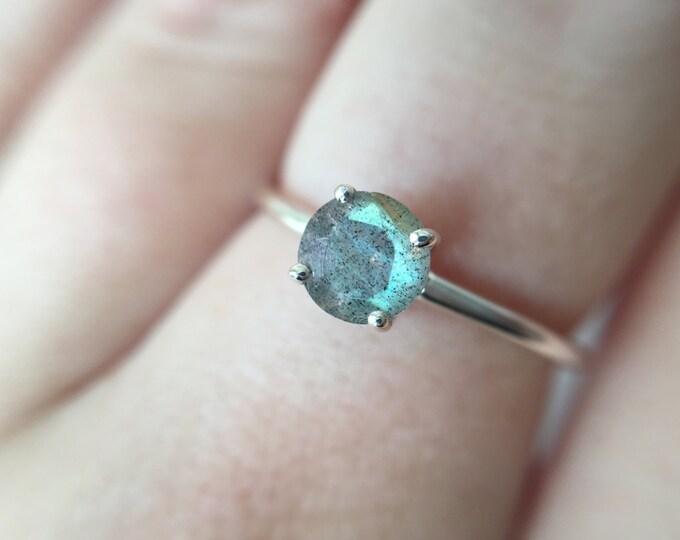 5mm Round Faceted Labradorite Ring